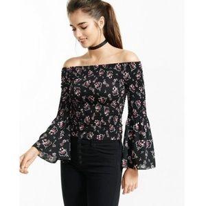 Express Black Floral Smocked Off The Shoulder Top